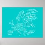 Mapa de la comida de Europa (azul/trullo/aguamarin Posters