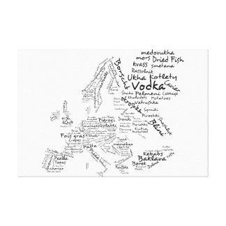 Mapa de la comida de Europa - blanco Impresion En Lona