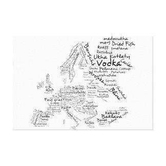 Mapa de la comida de Europa - blanco Impresión En Lienzo Estirada