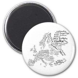 Mapa de la comida de Europa Imán Redondo 5 Cm