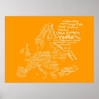Mapa de la comida de Europa naranja Poster