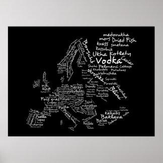 Mapa de la comida de Europa (negro) Póster