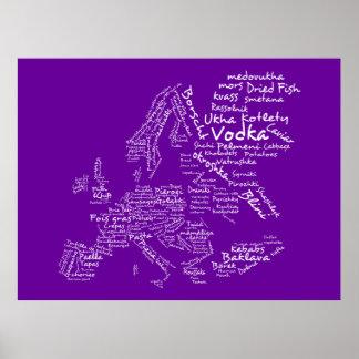 Mapa de la comida de Europa púrpura Posters