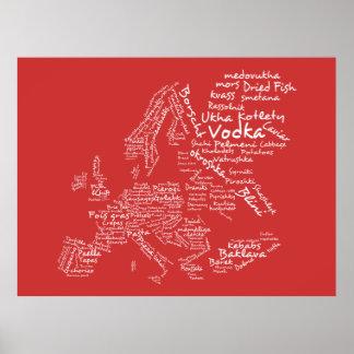 Mapa de la comida de Europa roja Impresiones