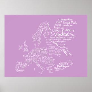 Mapa de la comida de Europa rosa Poster