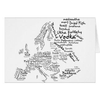 Mapa de la comida de Europa Tarjeta De Felicitación