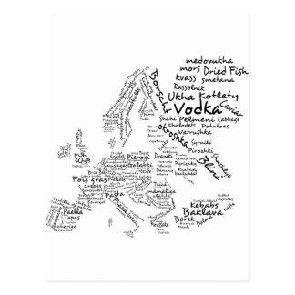Mapa de la comida de Europa Tarjetas Postales