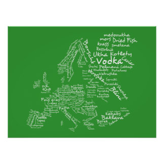 Mapa de la comida de Europa (verde) Póster