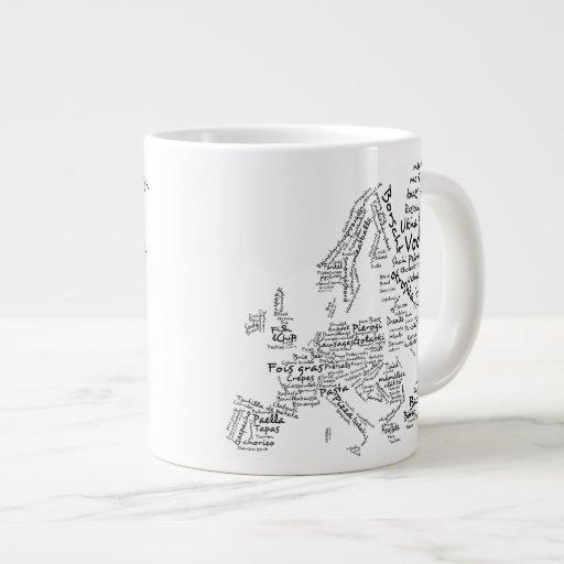 Mapa de la comida de la cocina europea tazas jumbo