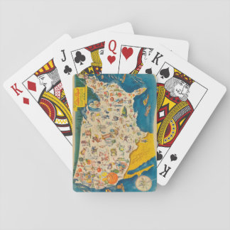 Mapa de la comida de los E.E.U.U. del vintage Cartas De Póquer