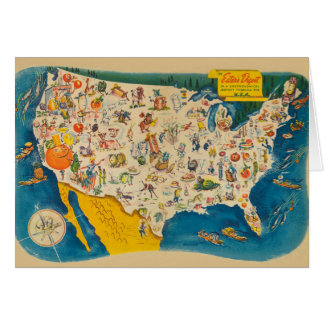 Mapa de la comida de los E.E.U.U. del vintage Tarjeta Pequeña