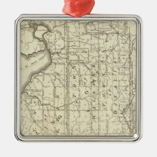 Mapa de la compra o de Geneseo del oeste de Morris Adorno Cuadrado Plateado