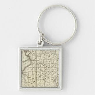 Mapa de la compra o de Geneseo del oeste de Morris Llavero Cuadrado Plateado