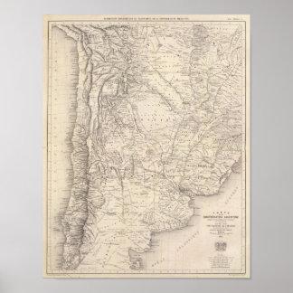 Mapa de la confederación de Argentina Póster