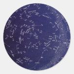 Mapa de la constelación de la estrella del vintage pegatinas redondas