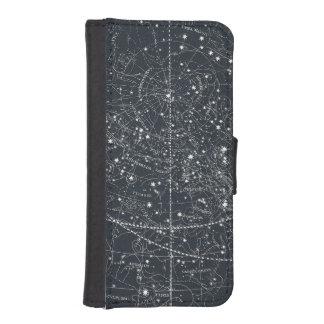 Mapa de la constelación del vintage fundas billetera para teléfono