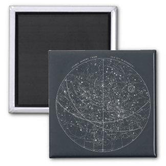 Mapa de la constelación del vintage imán cuadrado