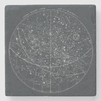 Mapa de la constelación del vintage posavasos de piedra