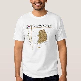 Mapa de la Corea del Sur + Bandera + Camiseta del Playeras