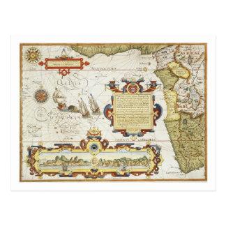 Mapa de la costa costa de Africa Occidental, 1596 Postales