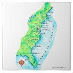 Mapa de la costa este americana azulejo cuadrado grande