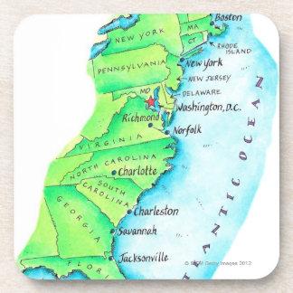 Mapa de la costa este americana posavasos