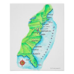 Mapa de la costa este americana poster