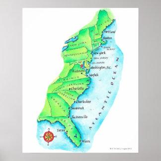 Mapa de la costa este americana póster