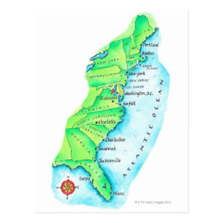 Mapa de la costa este americana postales