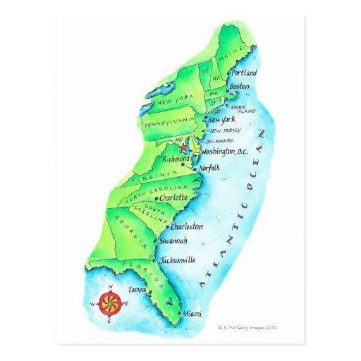 Mapa de la costa este americana tarjeta postal