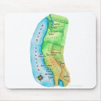 Mapa de la costa oeste americana tapete de ratones