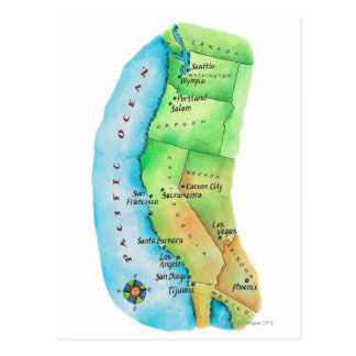 Mapa de la costa oeste americana postal