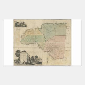 Mapa de la cuenta Jamaica (1763) de Cornualles Pegatina Rectangular