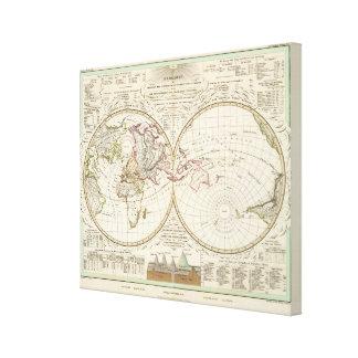 Mapa de la distribución de los ríos y de las monta lienzo envuelto para galerías