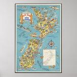 Mapa de la diversión de Nueva Zelanda Posters