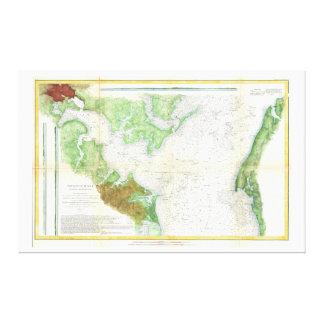 Mapa de la encuesta sobre 1857 costas o carta del  impresiones en lona estiradas