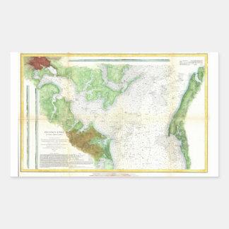Mapa de la encuesta sobre 1857 costas o carta del pegatina rectangular