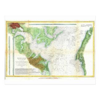 Mapa de la encuesta sobre 1857 costas o carta del postal