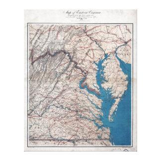 Mapa de la era de la guerra civil 1862 de Virgina Lona Envuelta Para Galerías
