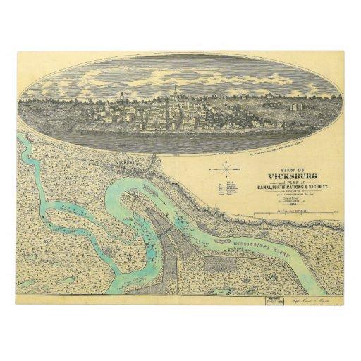 Mapa de la era de la guerra civil de Vicksburg Mis Bloc De Notas