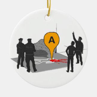 Mapa de la escena del crimen con el esquema de la adorno navideño redondo de cerámica