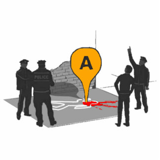 Mapa de la escena del crimen con el esquema de la  fotoescultura vertical