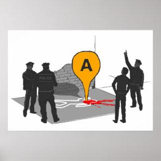 Mapa de la escena del crimen con el esquema de la  impresiones