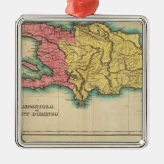 Mapa de La Española, o St Domingo Adorno Navideño Cuadrado De Metal