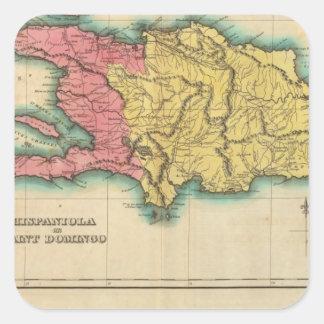 Mapa de La Española, o St Domingo Calcomanias Cuadradas