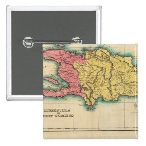 Mapa de La Española, o St Domingo Pin Cuadrada 5 Cm