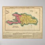 Mapa de La Española, o St Domingo Poster