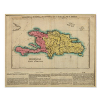 Mapa de La Española o St Domingo Poster