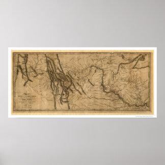 Mapa de la expedición de Lewis y de Clark - 1804 Póster