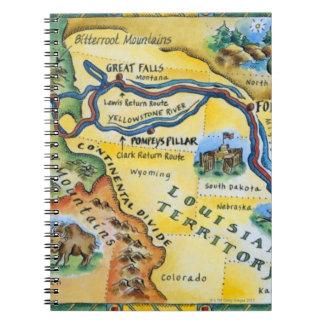 Mapa de la expedición de Lewis y de Clark Cuaderno